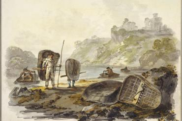 3.	Julius Caesar Ibbetson's late-eighteenth-century watercolour shows salmon fishermen on the river Teifi