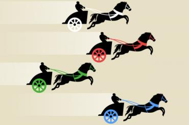 cartoon Roman chariot horse racing