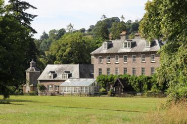 exterior image of Abercamlais house and gardens